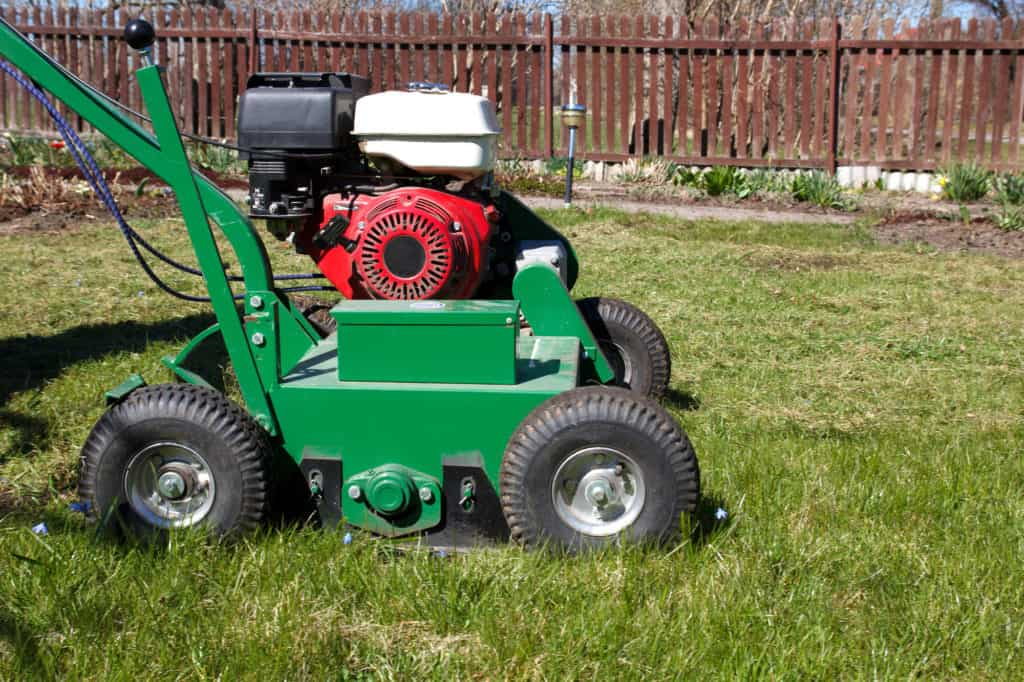Lawn Aerator. A lawn aerator is a garden tool or machine designed to aerate the soil in which lawn grasses grow