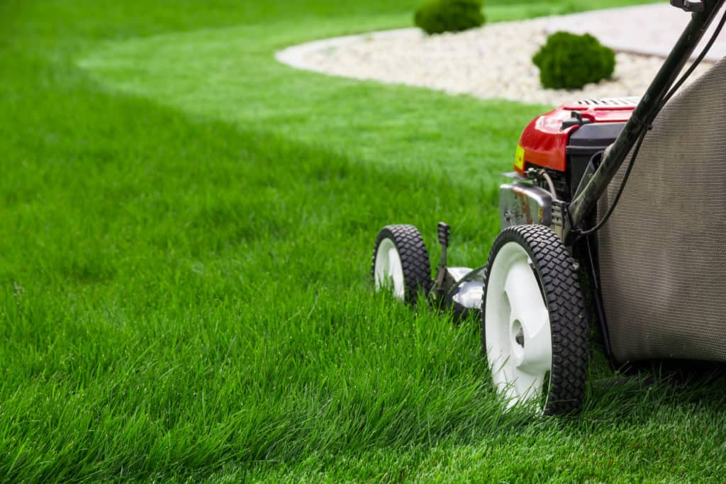 Mowing a Lawn.